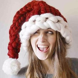 Adults Christmas Hats Canada - Wholesale-Autumn And Winter Unisex Handmade Knitting Hat Santa Claus Hats Christmas Gift Wool Hat Warm Long Tail For Women Men Adults