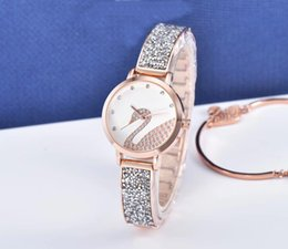 Chinese  2018 brand swan New design Lady female quartz Steel Bracelet Chain rose Women watch Dress Watch with diamond Japan Movement Life Waterproof manufacturers