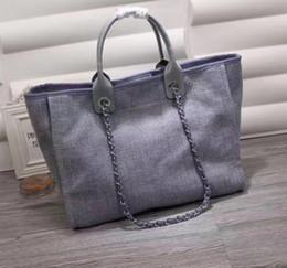 Nude color leather haNdbag online shopping - Good Quality Women s Canvas Cambon Beach Bag cm Large Handbag casual Shopping Tote Bags more colors