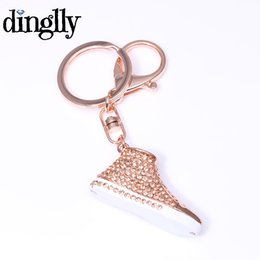 Metal Sneakers Australia - DINGLLY Cool Sneaker Shoes Key Chains with Crystal Fashion Metal Shoe Keyring Jewelry for Women Men