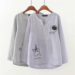 $enCountryForm.capitalKeyWord Australia - Oversized Plus Size V-Neck Long Sleeve Blouse Women 2018 Casual Striped Embroidered Shirt Spring Autumn Ladies Tops 4XL