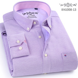 Mens Oxford Shirts Yellow Canada - 2017 Winter new Thick solide mens Oxford shirts Casual Slim Fit men long sleeve dress shirts plus velvet male shirt homme
