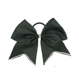 $enCountryForm.capitalKeyWord UK - 7'' New Arrival Rhinestone Cheer Bow Grosgrain Ribbon Cheerleading Bow With Elastic Band Hair Bows For Girls 10pcs