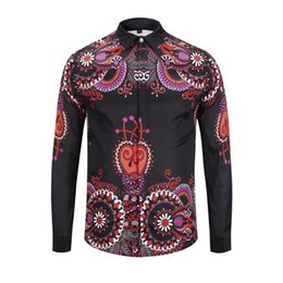 Graffiti Flowers UK - 2018 Fall Winter Collection Medusa Business Casual Men's Long Sleeve Shirt Lapel Flower Wave Button Stripe Graffiti Fashion Style 73