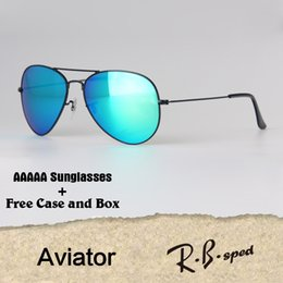 online shopping 18 Colors Aviator Sunglasses Men Women Brand Designer Eyewear Glasses Mirror glass lens Sun glasses uv400 Goggle with cases and box