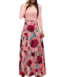 $enCountryForm.capitalKeyWord Australia - Women Long Sleeve Tunic Top Floral Printed Splicing High Waist Maxi Dress