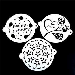 $enCountryForm.capitalKeyWord Australia - 3pcs set 20.5cm Love rose Wedding Plastic Cake Stencil Fondant Cake Tool Decoration for Wedding Flower Cookie Stencil