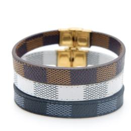 $enCountryForm.capitalKeyWord NZ - Luxury Men and Women's 316L Steel Lattice Leather Bracelet White Brown Black Classic Leather Bracelet Christmas Gift