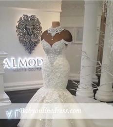 Discount rhinestone sequin mermaid wedding dress - Arabic Dubai 2019 Luxury Plus Size Mermaid Wedding Dresses High Neck Beads Crystals Rhinestone Court Train Bridal Gowns