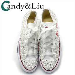Women Vulcanized Shoes White Pearls Flats Personalized Custom Letters Name  Christmas Gift Rhinestone Beads Sneakers Casual Shoes 9f36ccb08