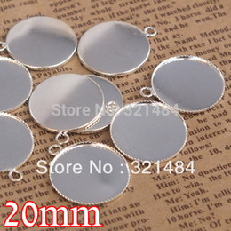 Wholesale Pendant Sets NZ - 200piece lot silver plated 20mm cabochon setting teeth edge bezels pendant base blanks for jewelry making