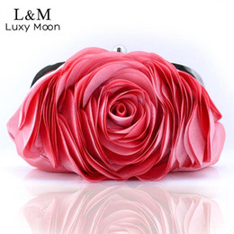Black Small Evening Hand Bag Canada - Vintage Ladies Floral Evening Bag Woman Fashion Rose Flower Chain Hand Bag Wedding Party Clutch Dinner Small Purse bolso XA140H