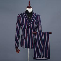men wedding two piece coat suit 2019 - Brand Men's Fashion Blue Stripe Blazer Pants Two Piece Groomsmen Wedding Suit Mens Suits Latest Coat Pant Designs 2