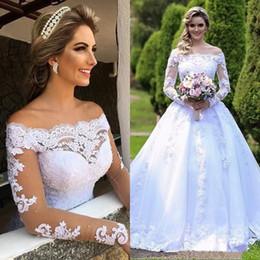 Long Bridal Robes NZ - Ball Gown Formal Princess Wedding Dresses Off Shoulders Sheer Long Sleeves Beaded Arabic Robe Garden Bridal Gown 190