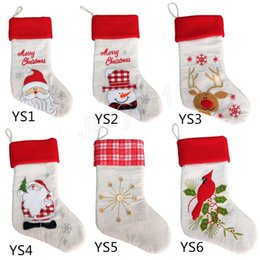 Discount noel christmas ornament - Christmas Stockings Santa Claus Sock Gift Kids Candy Bag Xmas Noel Decoration for Home Christmas Tree Ornaments LE112