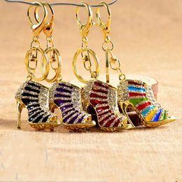 3d crystal keyring online shopping - Fashion D Shoes Keychains Novelty High Heel Shoe Key Chains Purse Handbag Charms Rhinestone Decor Sandal Keyring Gifts
