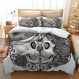 Discount king size skull bedding - Fanaijia skull Bedding Set for King Size Bed Europe Style 3D sugar skull duvet cover with pillowcase AU Queen Bed bedlin