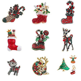 $enCountryForm.capitalKeyWord NZ - Retro Christmas Socks Deer Shoes Crystal Brooches Pin for Children Breastpin X'mas Gift Rhinestone Clothes Accessories Decor Badge Lapel Pin