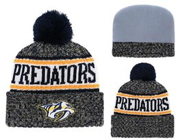 8126ebd5ce3 Top Selling Predators beanie beanies Sideline Cold Weather Reverse Sport  Cuffed Knit Hat with Pom Winer Skull Caps