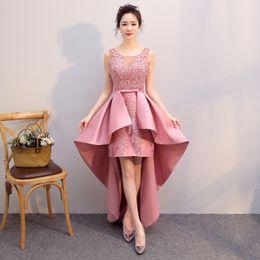 Rose Pink Lace Ballkleider High Low Satin Herausragende Teenager Zurück zur Schule Kleider Coaktail Party Kleider Auf Lager im Angebot