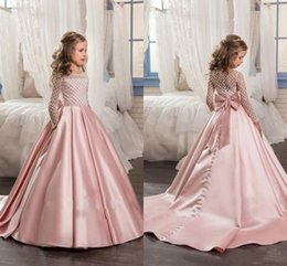 Wholesale Hot Sell Jewel A Line Satin Lace Applique Floor Length Luxurious Little Girl Pageant Dress Formal Wear