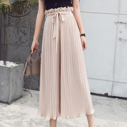 $enCountryForm.capitalKeyWord Canada - 2018 summer casual loose women pants fashion pleated trousers women chiffon high waist wide leg pants tie waist pants 0412 40