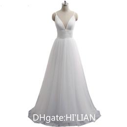 Spaghetti Strap Beach wedding dress Vestido Noiva Praia Simple White Tulle  Casamento Sashes Bridal Gown Custom Made Formal Occasion 335692b60c87