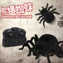 Kid Plastic Glasses NZ - SMRC 878 Remote Control Spider 4CH Soft Scary Plush Creepy Spider Infrared Remote Control Kid Gift Toy Wall Ceiling Glass Climbi