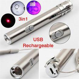 Flashlight Pens Wholesale Australia - 3 in1 500LM Mini Aluminium Alloy USB Rechargeable LED Laser & UV Torch Pen & Flashlight Multifunction Lamp