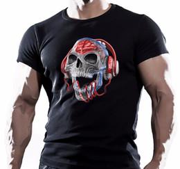 $enCountryForm.capitalKeyWord Canada - Letter Printing Men's O-Neck Design Short Sleeve Disco Skeleton With Headphones Music Skull Dj Men Black Cotton T-Shirt T Shirts