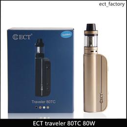 Discount ect atomizer - ECT Traveler 80w TC starter kits vaporizer mod adjustable 5-80w vape mod lit mini atomizer 2.0 ml vaporizer 2200mah elec