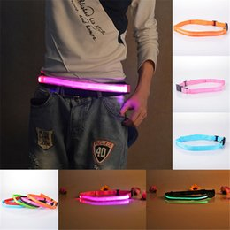Band Belts UK - LED Luminous Unisex Belts LED Light Flashing Waistband 40-100CM Nylon Belt Safety Reflective Belt Bicycle Jogging Running Waist Band