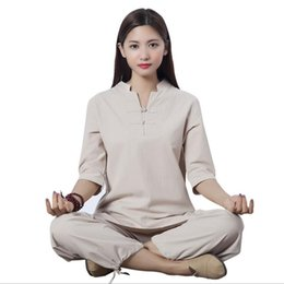 Pink Clothing Women UK - New Design fitness outfit outdoor sport exercise Clothing cotton linen Tracksuits yoga Jacket +Pants Female meditation Kungfu Tai Chi suits