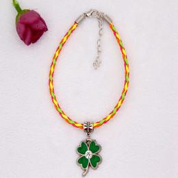 clover bracelets wholesale 2019 - 10pcs Zinc Alloy Drop Glaze Rhinestone Four-leaf Clover Charm Pendant 20+5cm Color Braided Rope Bracelet Women&Men Jewel