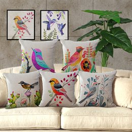 $enCountryForm.capitalKeyWord NZ - 45cm*45cm Pillow Cases Flowers and Birds Pillow Cover Cotton Linen Square Pillowcase Living Room Sofa Decorative Cushion Cover Case