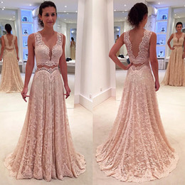 Sexy back cutout prom dreSSeS online shopping - Party Dress Prom Evening Gowns A Line Cutout Side Lace Sexy Sheer Backless New Arrival Formal Dresses