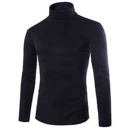 Wholesale mens clothings for sale – custom 2018 New Fall Mens Knitting Shirt Slim Fit Turtle Neck Knited T Shirts Slim Fit Tops Cardigan Clothings Asia Size S M L Xl