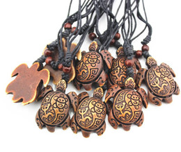 american carvings Australia - Fashion men Yak Bone Powder Carved Sun Smiley Frog Surfer Turtles Pendant Charm Necklace Wood Beads Adjustable Rope Necklace