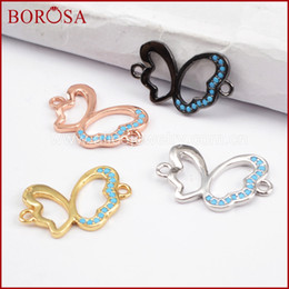 Micro Pave Connectors Australia - BOROSA 20PCS Micro Pave CZ Buerfly Connector, New Animal Crystal Double Charms Mixed Colors Connectorsfor Bracelets DIY WX841