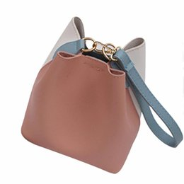 Ladies Cross Body Handbags Wholesale NZ - Hit Color Pu Leather Women Bucket Handbag Patchwork Hasp Small Cross Body Bag for Teenage Girls Korean Style Shoulder Bags Z3