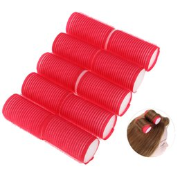 $enCountryForm.capitalKeyWord UK - 10pcs set 6X3cm Red Plastic Hair Curlers Hairdressing DIY Tools Magic Styling Roller Curler Tool Home Use Hair Rollers