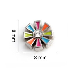 Discount locket plate flower - 8*8mm Zinc Alloy Colorful Crystal Flower Floating Locket Charms For Glass Living Memory Locket
