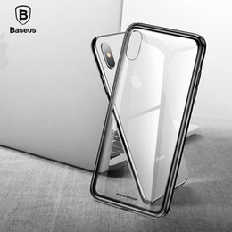 baseus iphone case Canada - For iPhone Xs 9 Xs Plus Phone Cover Baseus Luxury Original Tempered Glass Case Anti Knock Back For iPhone Xs