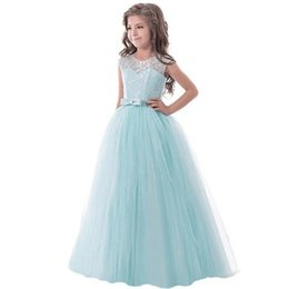 Custom elegant pageant sashes online shopping - Flower Girl Dress Kids Girls elegant lace ball gowns Wedding Princess Party Pageant Formal long Dress Sleeveless Lace Tulle Dress