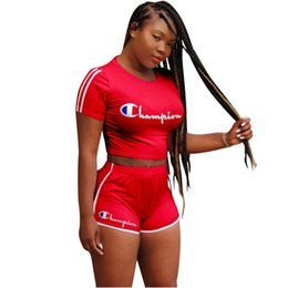 498ece34c50d1 18ss shark C brand Sexy women's clothes Alphabetic printing Two piece set  Short sleeves + shorts Gym clothing Jogging Suits