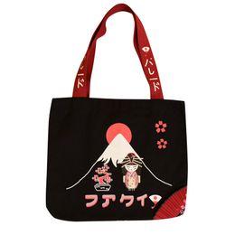 $enCountryForm.capitalKeyWord Australia - Japanese Style Causal Tote Bag Lolita Girls Canvas Large Capacity Shoulder Bag Mount Fuji Printed Cute Shopping Bags Handbag