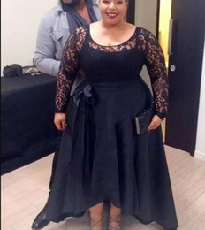 $enCountryForm.capitalKeyWord UK - Plus Size High Low Prom Dresses 2018 Jewel Long Sleeve Sash Ribbon Illusion Bodice Lace Top Hi-Lo Women Evening Party Gowns