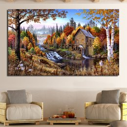 forest figures Australia - Landscape In The Forest Cabins Oil Painting Canvas Art Home Decor Wall Pictures For Living Room Modern No Frame Picture