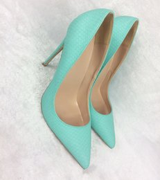4e8de111136 Autumn and Winter New Mint Green Serpentine 12cm Super Fine Heel Tip Sexy  Exposed Toe High Heels Fashionable Shallow Mouth Famous Couple Ban