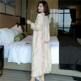 81ecd5a3a7 Elegant Sleepwear Australia - Pink Sequins Embroidered Long Robe Female  Autumn Winter Sexy Silk Woman Bathrobes